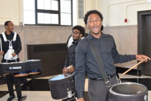 Student drummers performed at the NYPD Community center opening ribbon cutting in east new york