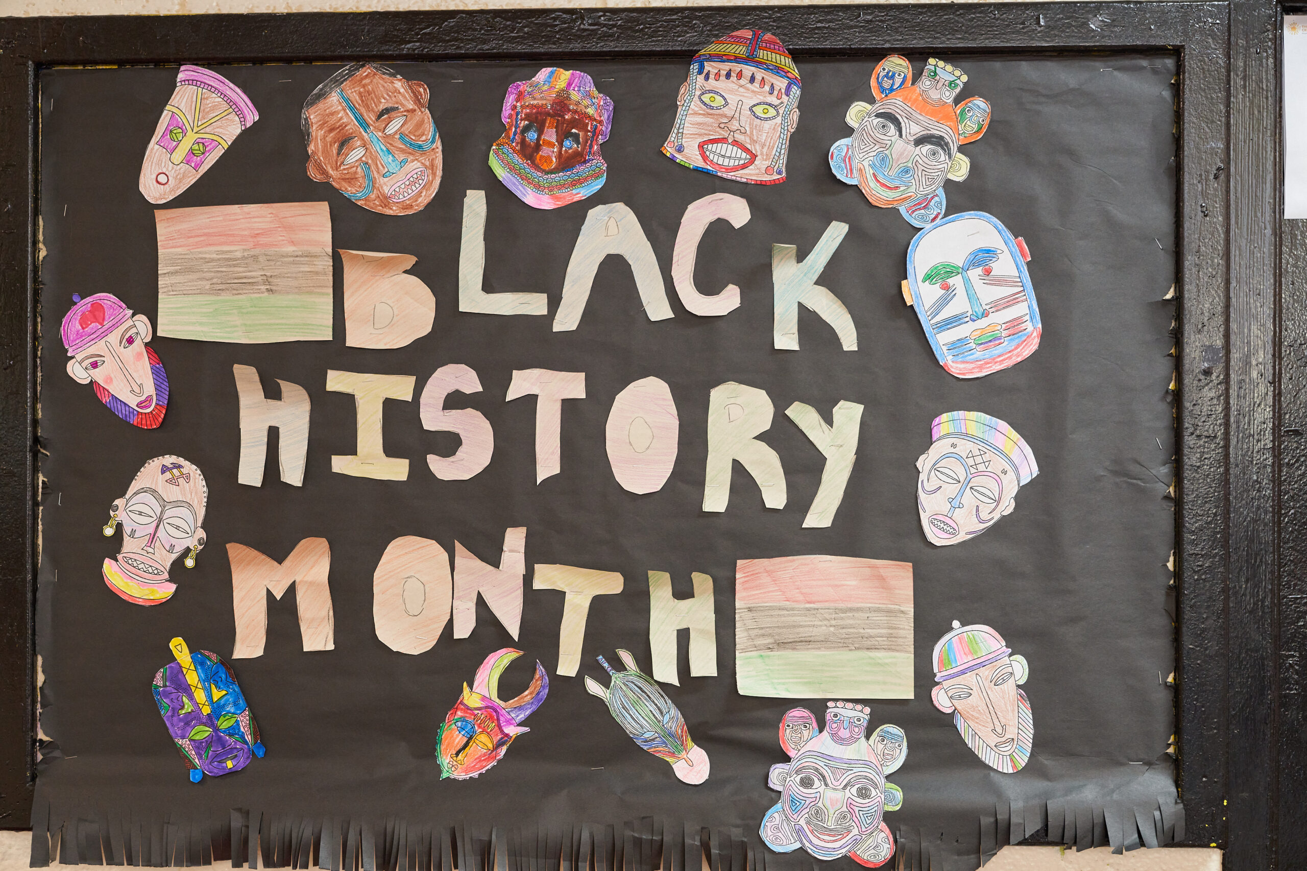Black History Month Bulletin board at Ocean Bay community Cornerstone